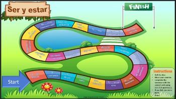 Ser and estar. Fun board game activity