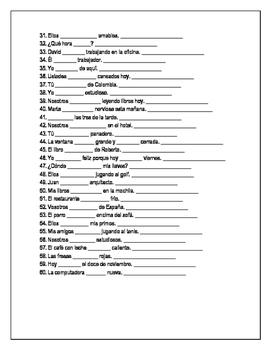 Ser or estar - Doctor and place worksheet verb conjugation verb choice ~verbos