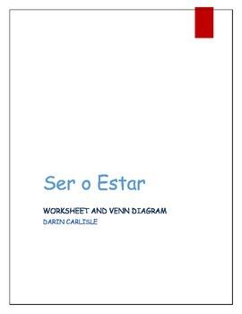 Ser or estar present tense work sheet and Venn Diagram ~ve