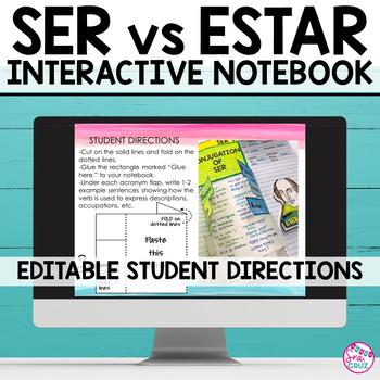 Spanish Interactive Notebook Activity:  Ser v Estar