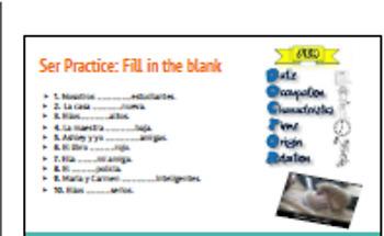 Ser v. Estar PowerPoint, Printable student notes, Practice Activity, Fun rhyme
