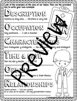 Ser vs Estar Doodle Pages Spanish Grammar Notes Worksheets Practice