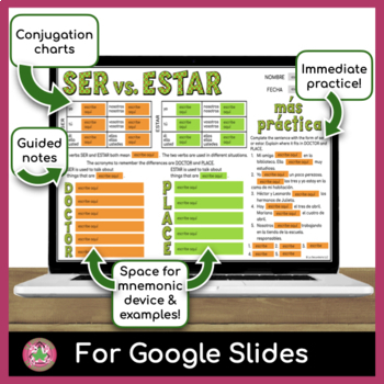 Ser vs Estar Graphic Organizer