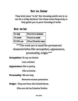 Ser vs. Estar Notes