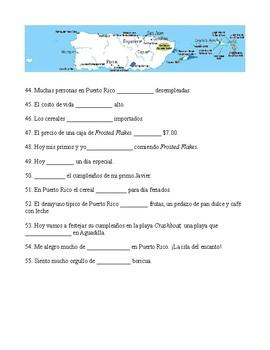 Ser vs Estar Present tense  (makes connections to Puerto Rico)