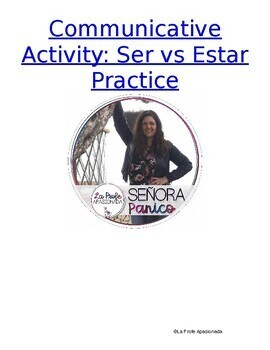 Ser vs Estar Speaking and Writing Activity