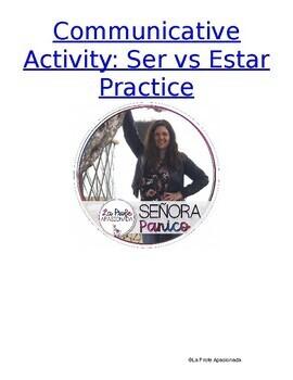 Ser vs Estar Speaking and Writing Activity