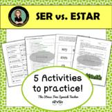 Ser vs. Estar Supplemental Activities, 15 page packet
