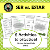 Ser vs. Estar Supplemental Activities, 15 page packet