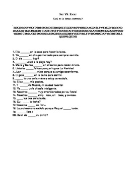 Ser vs Estar Word search with conjugating sentences
