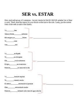 graphic about Ser Vs. Estar Worksheet Printable identified as Ser vs. Estar Worksheets and Functions