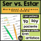 Ser vs Estar worksheet & sentence unscramble