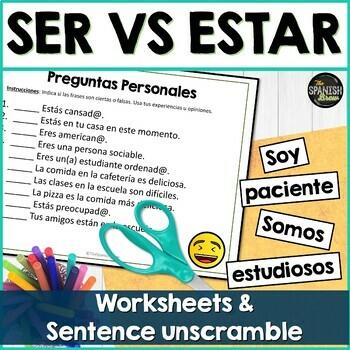 Ser Vs Estar Worksheet Sentence Unscramble Tpt