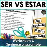 Ser vs Estar worksheet & sentence unscramble w/ digital option