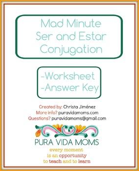 Ser y Estar Fluency Mad Minute Present Tense Conjugation