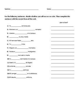 Ser Y Estar Practice Quiz By Spanish Grammar Assessment Resource