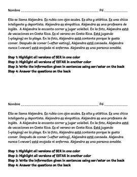 Ser/Estar Noticing Paragraph