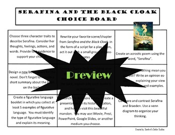 Serafina and the Black Cloak Choice Board Novel Study Activities Menu Project