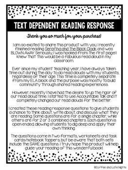 Serafina and the Black Cloak Text Dependent Reading Response Questions