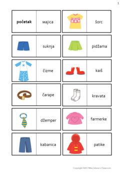 Serbian Clothes Worksheets- Latin Alphabet  - Odelo na srpskom jeziku