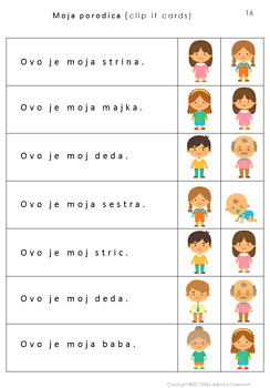 Serbian Family Members- Latin Alphabet
