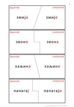 Serbian Plural Nouns Worksheets - Množina imenica u srpskom jeziku