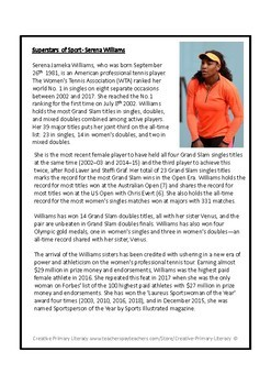 Serena Williams Reading Comprehension Activity