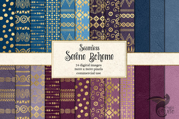 Serene Boheme digital paper, seamless gold boho pattern backgrounds