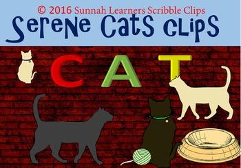 Serene Cats Clip Art (21 clips)