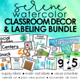 Serene Watercolor Classroom Decor and Labeling BUNDLE