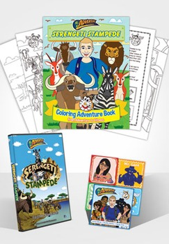 Serengeti Stampede Coloring Adventure Book + DVD + Sticker Set