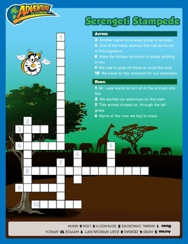 Serengeti Stampede Crossword Puzzle