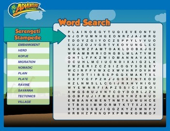 Serengeti Stampede Word Search