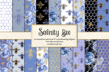 Serenity Blue Honey Bee seamless digital paper backgrounds, patterns