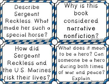 Sergeant Reckless Discussion Question Cards