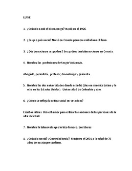 Sergio Vodanovic Web Quest in Spanish
