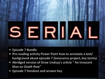Serial Episode 7:  The Opposite of Prosecution Bundle
