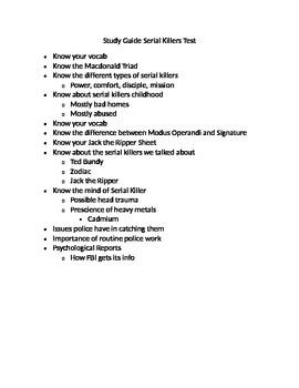 Serial Killer Review Sheet