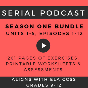 Serial Podcast Lesson Plans & Printable Worksheets, S.1, Episodes 1-12 (5 Units)