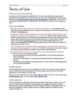 Unit 1: Serial Podcast Lesson Plans + Printable Worksheets, S1, Episode 1