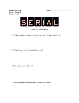 Serial Podcast Student Guide Episode 4