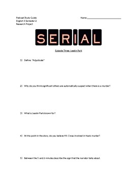 Serial Podcast Study Guide Episode 2