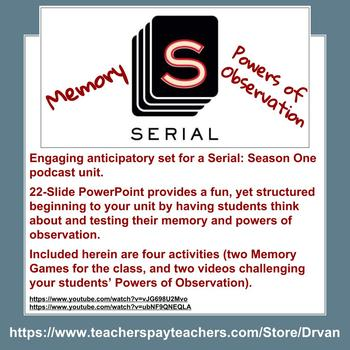 Serial: Season One - Anticipatory Set: Memory and Observation Activities