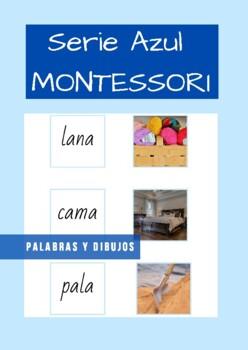 Serie Azul Montessori en Español  ( blue series) Tarjetas de palabras y dibujos.