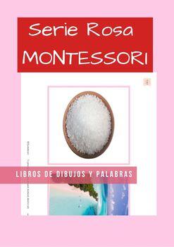 Serie Rosa Montessori en Español. Libros de palabras y dibujos.