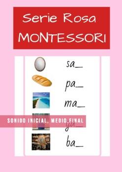 Serie Rosa Montessori en Español. Tarjetas de sonido inicial, medio, final