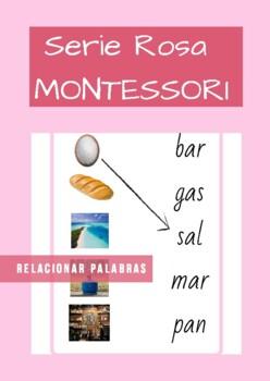 Serie Rosa Montessori en Español (pink series). Tarjetas de relacionar palabras.