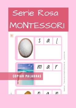 Serie Rosa Montessori en Español (pink series).Tarjetas para copiar palabras.