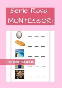Serie Rosa Montessori en Español. (pink series). Tarjetas para escribir palabras