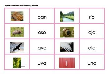 Serie Rosa-laminas y palabras